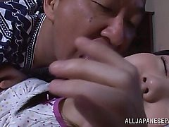 Alluring Asian teenage hottie Marin Aono gets teased by naughty old guy while she is ing. The guy starts to kiss and slurp all her new youthful figure and ultra-cute pussy. The sugary-sweet girl displays him here skills, sucking his cock in kinky 69 posit