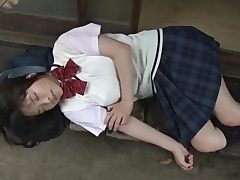 Japanese schoolgirl Eri Sasaki in a sweater and skirt