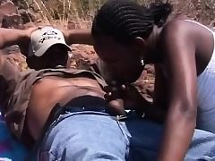 African Dark-hued Teenagers Blowjob Outdoors Four way