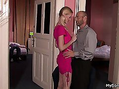 Light-haired nymph caught hotwife with older man