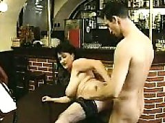 Brunette in stockings sucks thick rod and fucks it