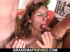 Hairy elderly mature dame swallows two stiffys at once
