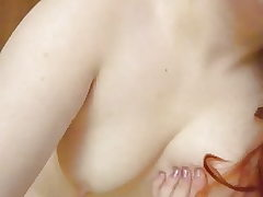 Chick massaging her small tits and tiny nipples #1
