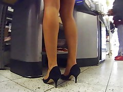Candid in pantyhose and heels