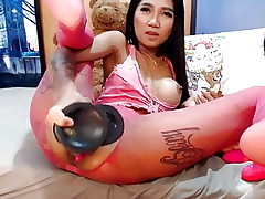 Webcam asian girl gigantic playthings ass fucking and bust