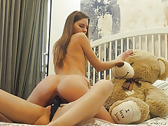 Lesbian school roommates strapon dildo sex with hairy man bear
