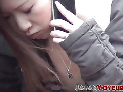 Youthful Japanese damsels filmed going naughty in the city