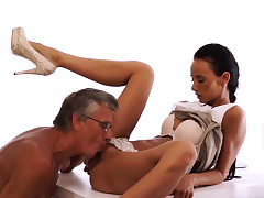 Milf young boy Finally she's got her boss dick