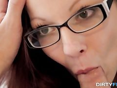 Tatted nerdy lady porked superb