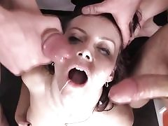 3some hard-core fucking in four-way